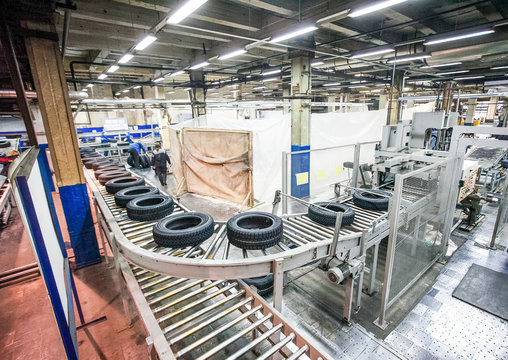 tyre production conveyor at bright new factory