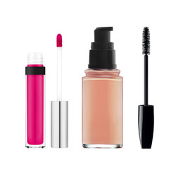 foundation, mascara, lipgloss isolated on white