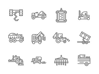 Farm machinery black line vector icons