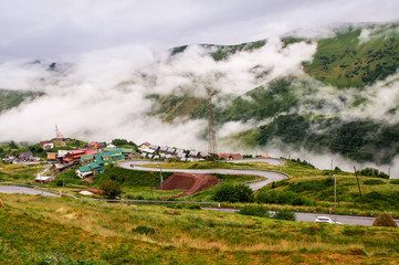 Serpentine road in Gudauri, Caucasus, Republic of Georgia.