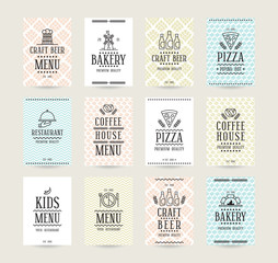 Set of vector poster templates for bakery, cafe, restaurant, piz