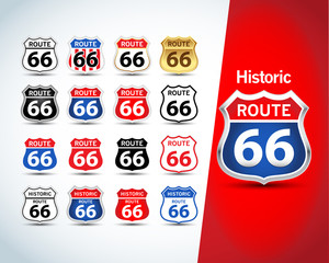 Route 66 sign set. Isolated route 66 emblems, badges, t-shirt apparel graphics. Isolated vector illustrations.
