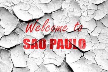 Grunge cracked Welcome to sao paulo
