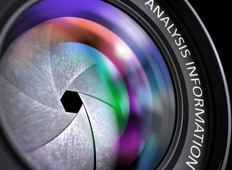 Closeup Digital Camera Lens with Pink and Orange Reflection and Inscription Analysis Information. Photographic Lens with Analysis Information Concept. 3D Illustration.