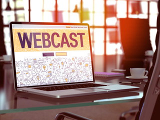 Webcast Concept Closeup on Landing Page of Laptop Screen in Modern Office Workplace. Toned Image with Selective Focus. 3D Render.