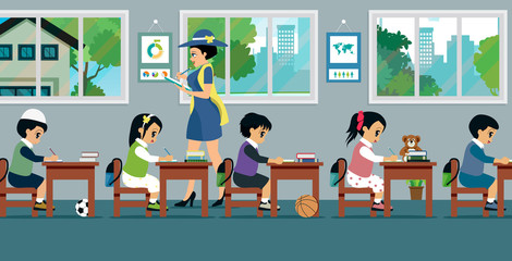 Children in class with women teachers are teaching.