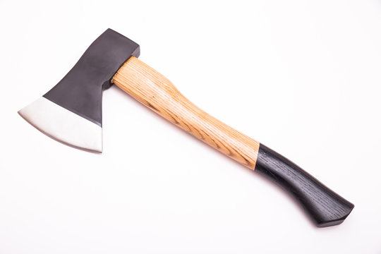 Small hand axe with wooden black handle isolated on white background