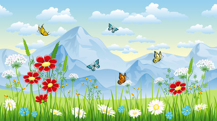 Wall Mural - Floral background with butterflies and moutains