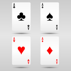 Collection of four ace cards. Card game illustration with shadow effect.