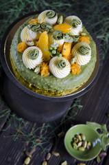 Pistachio cake with apricot