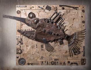 Sawfish Made Of Steel Trash