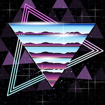 retrofuturistic chrome and neon background