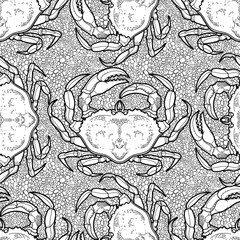 Graphic vector crab pattern