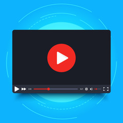 Video player design template with shadow for web and mobile apps. Vector illustration in flat style isolated on blue background