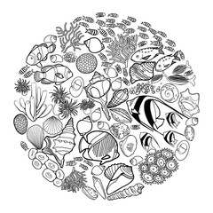 Ocean life in the circle shape