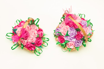two basket  handmade flower made of silk ribbons