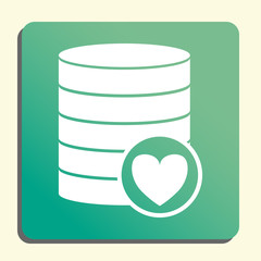 Database-favorite icon, on button style green background, yellow light, shadow