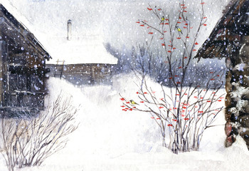 Russian winter landscape. Watercolor winter.Village snow, viburnum and titmouse.