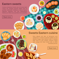 Vector flat illustration of eastern sweets dishes. Outside tasty snacks