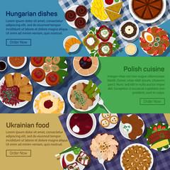 Vector flat illustration of ukrainian, hungarian, polish national dishes.