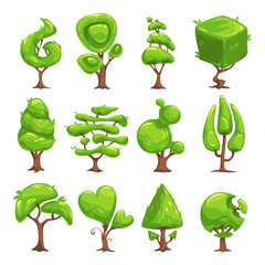 Funny cartoon fantasy shape tree set