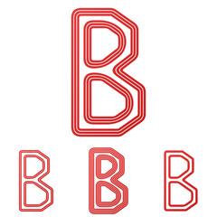 Red letter b logo design set