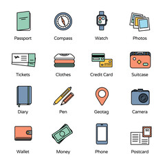 Travel Icons Collection 1. Basic accessories for travel. (See also other icons and banners from this series)