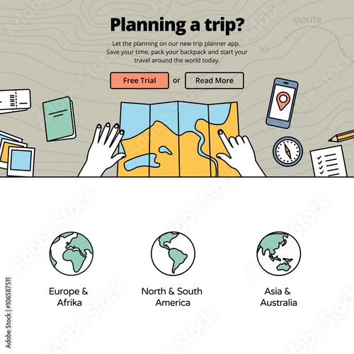 Planning Vacation With A Trip Planner Application Top View On Hands With Map Travel