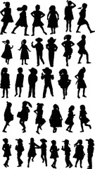 thirty two black child silhouettes