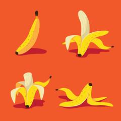 Banana icon flat design pop art collection. EPS 10 vector.