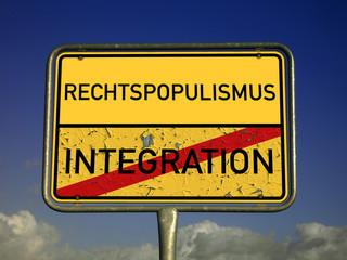 Ortsschild Rechtspopulismus