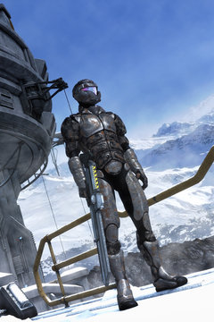 Futristic soldier and mountains with snow