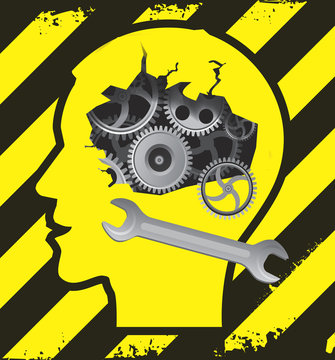 Male head under construction. Human Head silhouette on the construction sign background with broken gear symbolizing psychological and psychiatric troubles. Vector available.