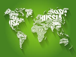 Obraz Mapa świata złożona z nazw krajów - fototapety do salonu
