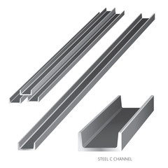 Vector illustration of steel construction isolated (Steel C Channel) on white background.