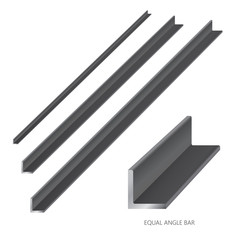 Vector illustration of steel construction isolated (Equal Angle Bar) on white background.