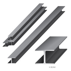 Vector illustration of steel construction isolated (H Beam) on white background.