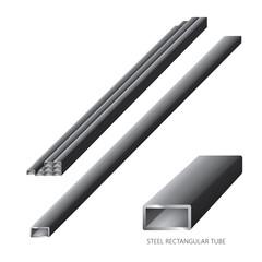Vector illustration of steel construction isolated (Steel Rectangular Tube) on white background.