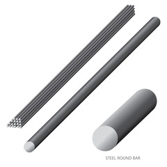 Vector illustration of steel construction isolated (Steel Round Bar) on white background.