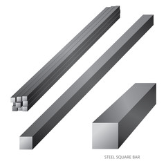 Vector illustration of steel construction isolated (Steel Square Bar) on white background.