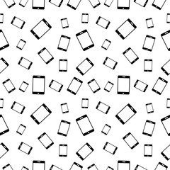 Vector seamless black and white pattern with mobile phones. Series of Technology Backgrounds.