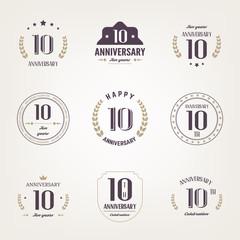 Ten years anniversary celebration logotype. 10th anniversary logo set.