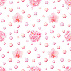 Bunch and Orchid Watercolor Seamless Pattern
