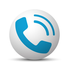 Blue Phone icon on sphere on white background