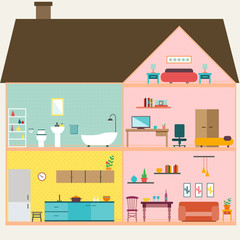 House inside with rooms vector for your ideas
