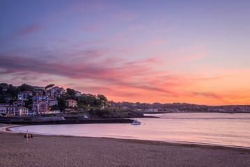 Saint Jean de Luz beach at sunset, France