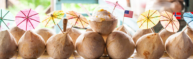 coconut with umbrella