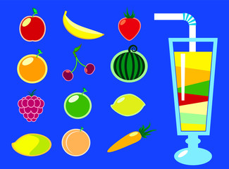 Fruits and smoothie glass flat vector illustration on blue background