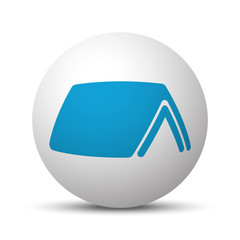 Blue Roof icon on sphere on white background