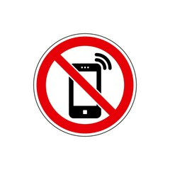 STOP! No phone / cell phone sign. Vector. The icon with a red sign on a white background. For any use. Warns.